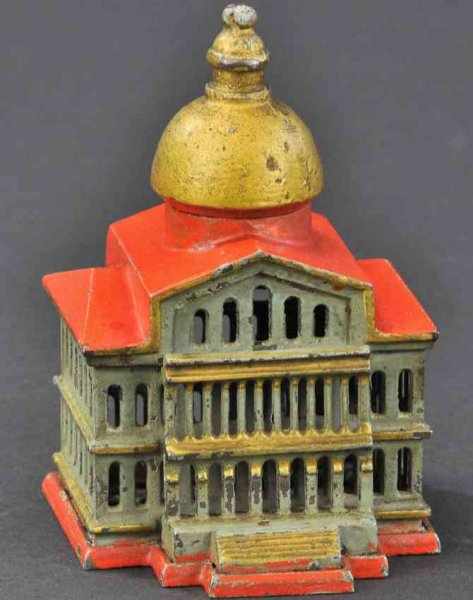 Smith & Egge Cast-Iron-Mechanical Banks Boston state house still bank, an extremely rare still bank,