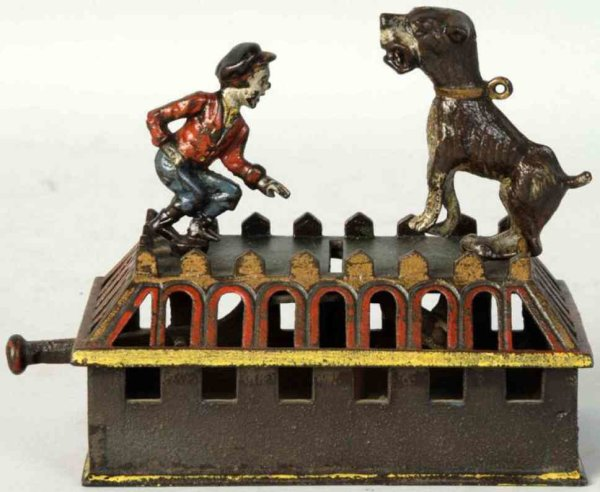 Judd H.L. Cast-Iron-Mechanical Banks Cast iron boy and bulldog mechanical bank, multicolored with