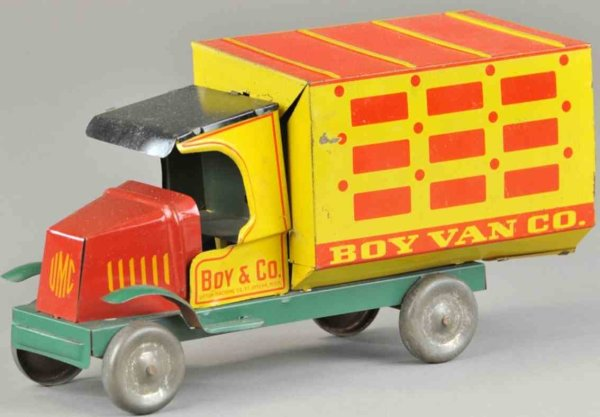 Upton Machine Company Tin-Trucks Delivery truck made of lithographed tin, bright red and yell