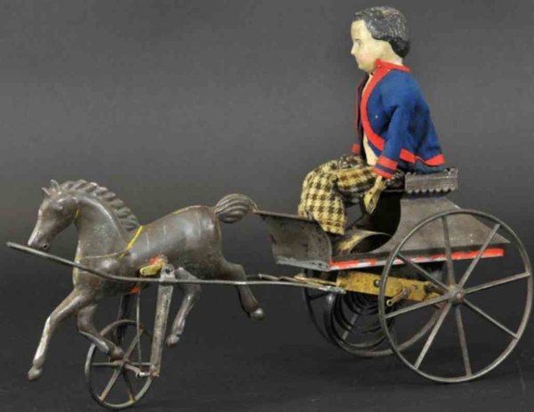 Althof Bergmann & C0 Tin-Carriages Boy in cart, single galloping horse with clockwork mechanism