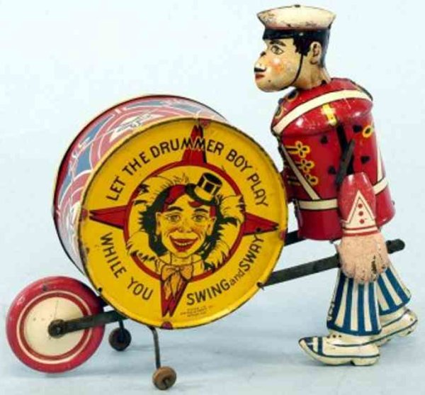 Marx Tin-Figures Little drummer boy, lithographed tin, depicts walking figure