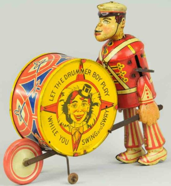 Marx Tin-Figures Drummer boy lithographed tin wind-up, Louis Marxs non-chara