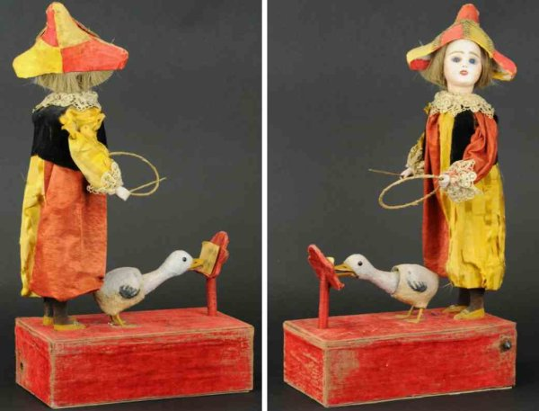 Unknown Tin-Automata French musical automaton with boy and singing goose, depicts