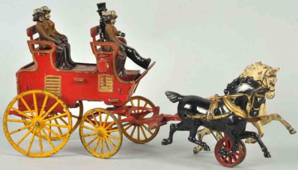 Hubley Cast-Iron-Carriages Cast iron horse-drawn 2-seat brake toy, with original figure