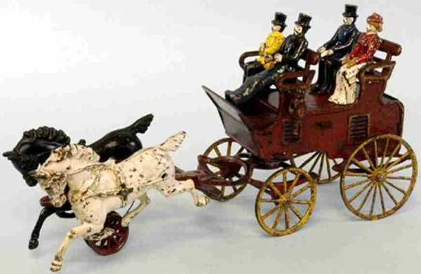Hubley Cast-Iron-Carriages Tow Seat Brake, red has cast lanterns on sides, yellow spoke