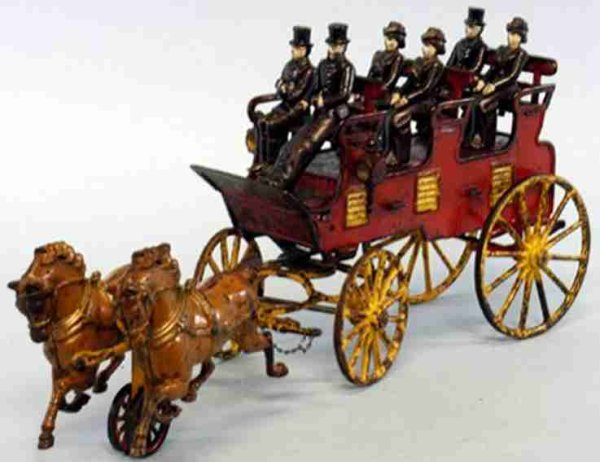Hubley Cast-Iron-Carriages Three seat brake, red large open brake, separate cast seats,