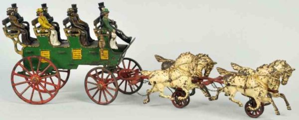 Hubley Cast-Iron-Carriages Cast iron horse-drawn 4-seat brake toy with side lamp, origi