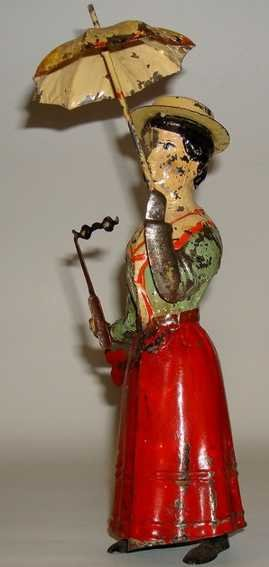 Guenthermann Tin-Figures Woman with glasses and umbrella