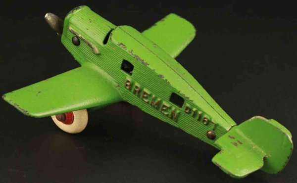 Hubley Cast-Iron Airplanes Bremen airplane in lime green color with raised gold letteri