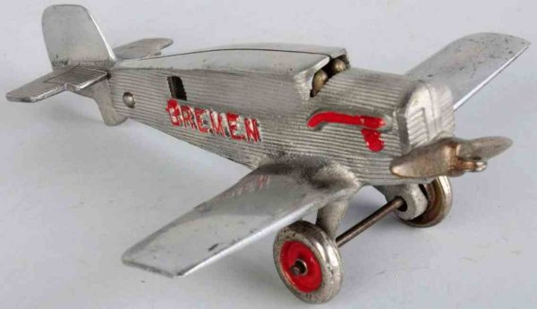 Hubley Cast-Iron Airplanes Aluminium airplane toy, with nickeled wheels and embossed B