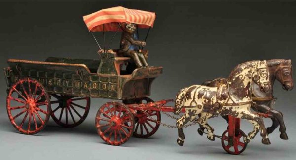 Ives Cast-Iron-Carriages Cast iron brewery wagon horse-drawn toy with original driver