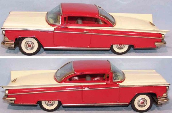 I.Y. Metal Toys Tin-Cars Buick coupe made of tin with flywheel drive in red and beige