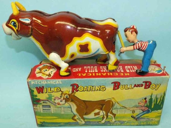 Mikuni Toy Tin-Figures Mechanical wild roaring bull and boy made ot lithographed ti