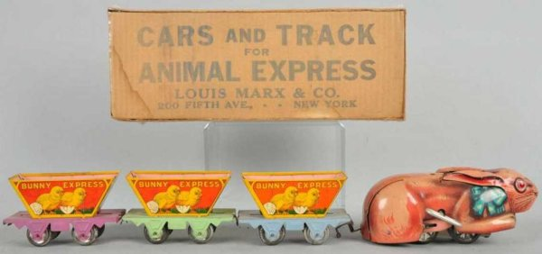 Marx Railway-Trains Bunny express lithographed with wind-up, original rabbit eng