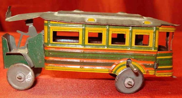 CP France Tin-Penny Toy Paris city bus with flywheel drive, see very similar Parisia