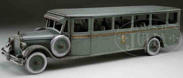 Buddy L Tin-Buses Bus of pressed steel with open louvered hood vents to the se