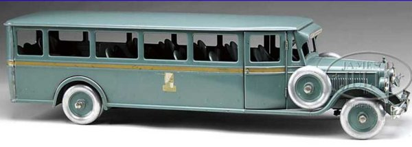 Buddy L Tin-Buses Outstanding bus, fantastic pressed steel bus painted in gree