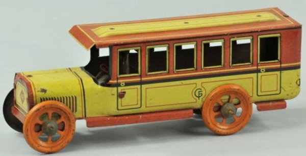 Fischer Georg Tin-Penny Toy Interurban bus lithographed tin, done in yellow and brown, o