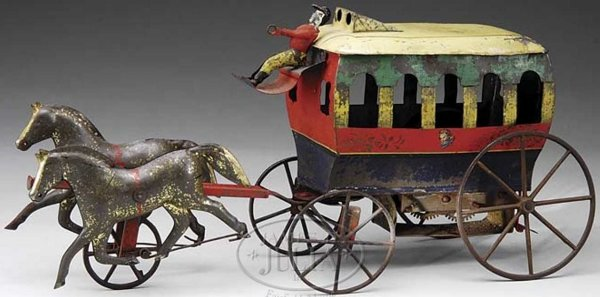 Ives Tin-Carriages Clockwork omni bus. An outstanding and exceptional omnibus m