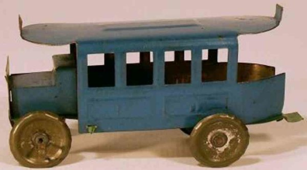CP France Tin-Penny Toy Paris Bus, made in France, on the undernaeth of the bus the