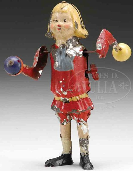 Unknown Tin-Figures Buster Brown windup toy, hand painted. An unusual feature of