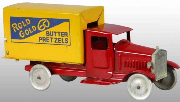 Metalcraft Corp. St Louis Tin-Trucks Rold Gold Pretzel truck in red and yellow of pressed steel,