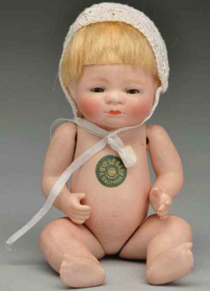Grace Storey Putnam Dolls All bisque ?Bye-Lo Baby? doll, fully incised on back ?Copr b