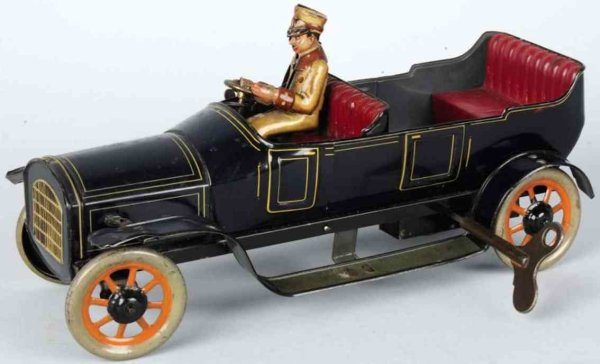 Bing Tin-Oldtimer Tin lithographed touring car auto wind-up toy, mechanism ope