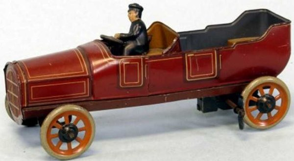 Bing Tin-Oldtimer Touring car, PHAETON, lithographed tin, done in maroon body,