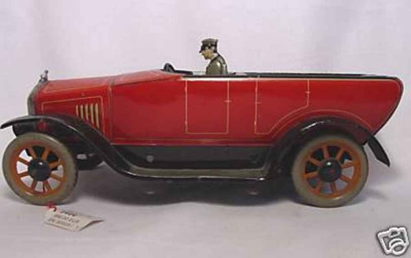 Bing Tin-Oldtimer Touring car, Open Tourer wind-up toy, made of lithographed t