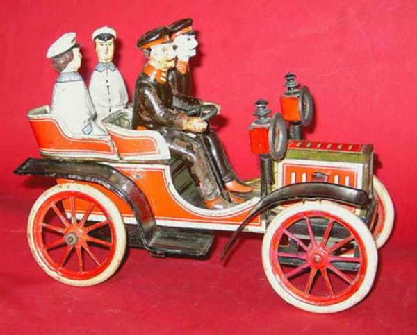 Carette Tin-Oldtimer Open Phaeton lithographed with clockwork
