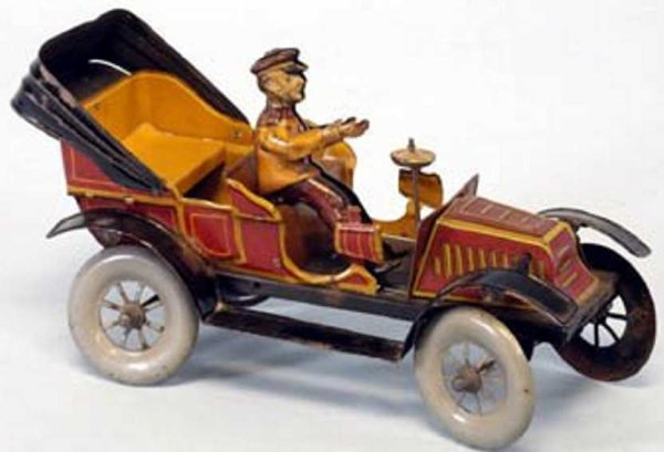Fischer Georg Tin-Oldtimer Toruring car, lithographed tin, colorful maroon and gold ove
