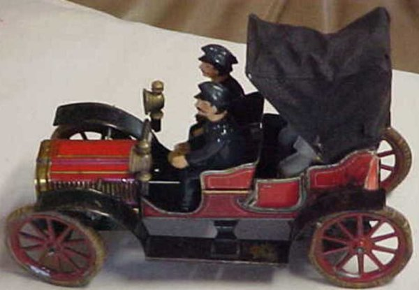 Carette Tin-Oldtimer Limousine wind-up toy with two figures