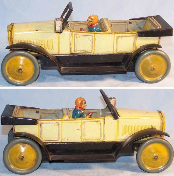 Bub Tin-Oldtimer Cabriolet made of tin without drive, lithographed in beige a