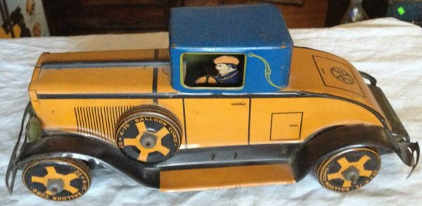 Marx Tin-Oldtimer Cadillac wind-up toy, lithograhped tin