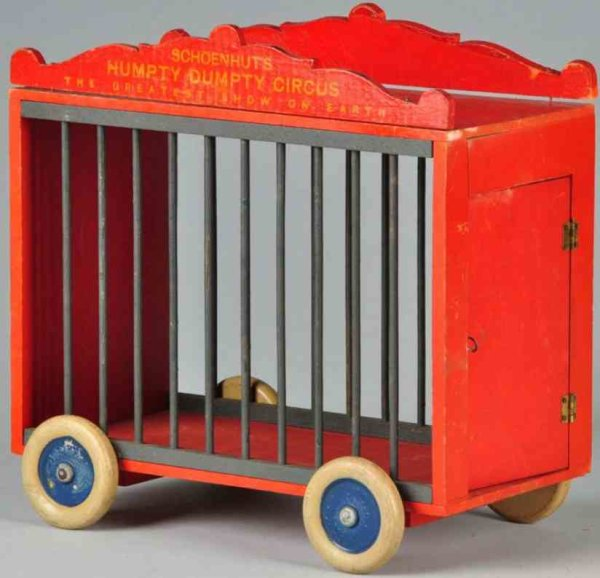 Schoenhut Wood Vehicles Wooden Humpty Dumpty cage wagonone in red overall with woode