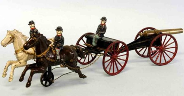 Ives Cast-Iron-Carriages Caisson Horsedrawn cast iron example, large ammunition box c