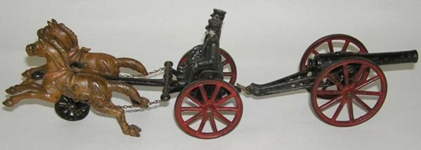 Dent Hardware Co Cast-Iron-Carriages Caisson pulling cannon, with two horses and two figures