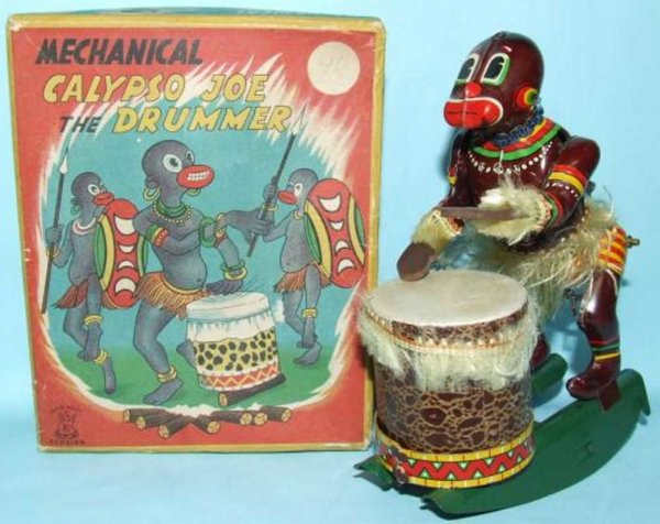 TPS Tin-Figures Calypso Joe African drummer lithographed tin windup toy. Thi