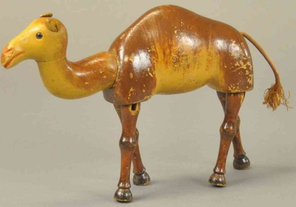 Schoenhut Wood-Animals Arabian camel, wooden jointed body, hand painted early anima