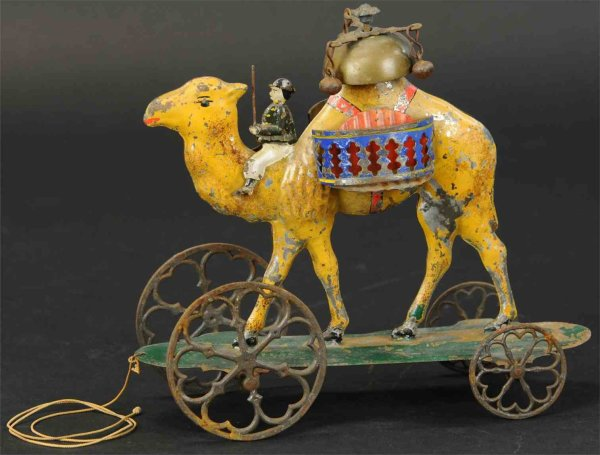 Althof Bergmann & C0 Tin-Toys Camel bell toy with rider. Often referred to as Althof Bergm