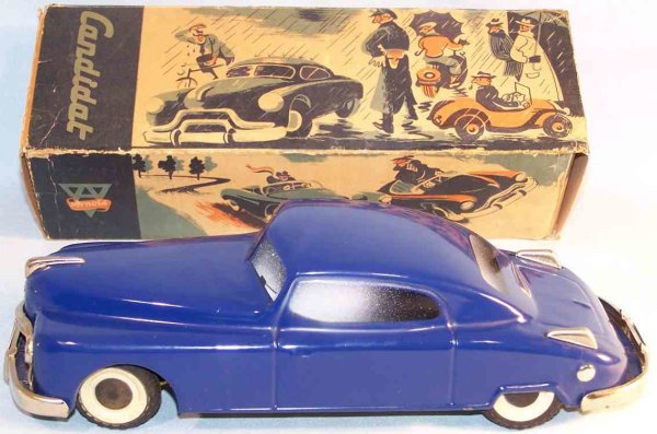 Arnold Tin-Cars Candidat with clockwork of tin, lithographed in blue, white