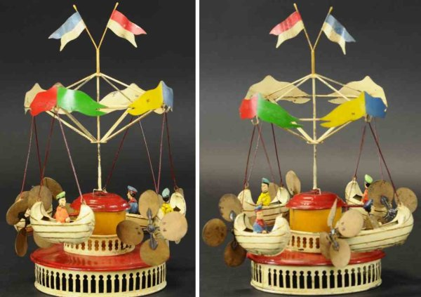 Unknown Tin-Carousels Carousel with flying boats, made in Germany, hand painted ti