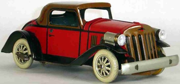 Marx Tin-Oldtimer Lithographed tin windup car, made of lithographed tin, with
