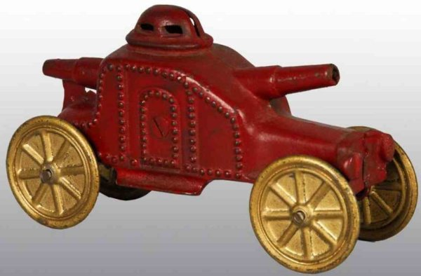 Williams AC Cast-Iron-Mechanical Banks Armored tank still bank of cast iron in red with gold disc w