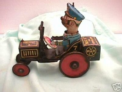 Marx Tin-Oldtimer Car with man and clockwork