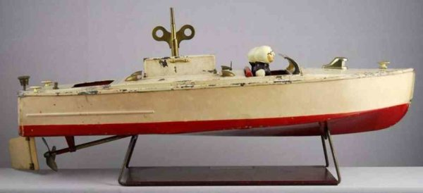 Lionel Tin-Ships Motor boat wind-up toy of tin, marked  Lionel Craft.  with