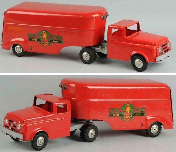 Wyandotte Tin-Trucks Pressed steel cargo lines trailer in red with nice decals on