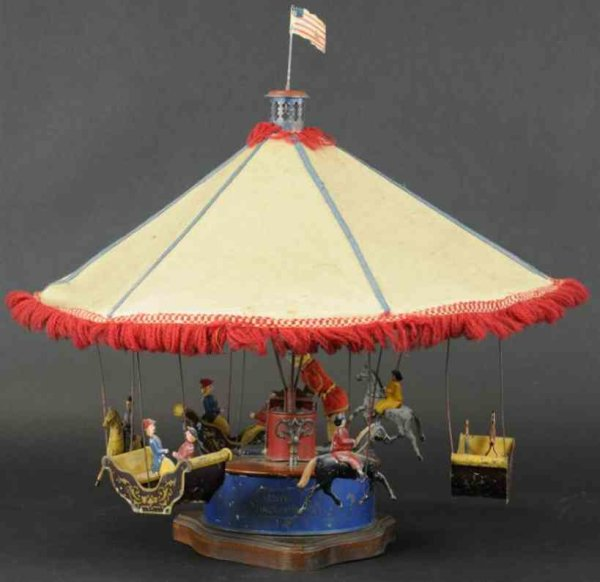 Althof Bergmann & C0 Tin-Carousels Mechanical carousel, American tin, this incredible and very
