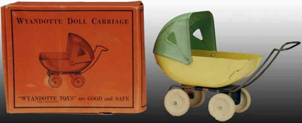 Wyandotte Tin-Toys Pressed Steel Doll Carriage. Carriage wheels are white rubbe
